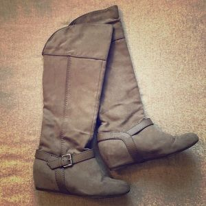 Faux Suede Wedge Boots